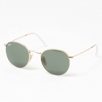 Gold Round Metal Sunglasses - Green Classic G-15 Lenses