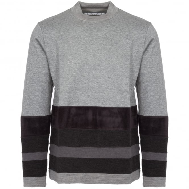 White Mountaineering Grey Contrast Border Mock Neck Jumper