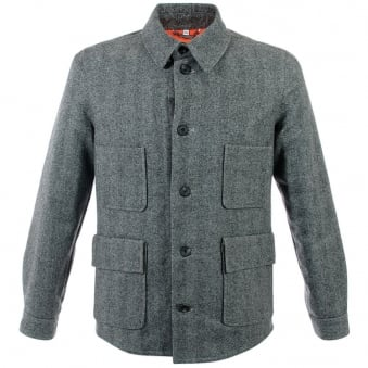 Hardy Amies Herringbone Light Grey Wool Jacket 356LG