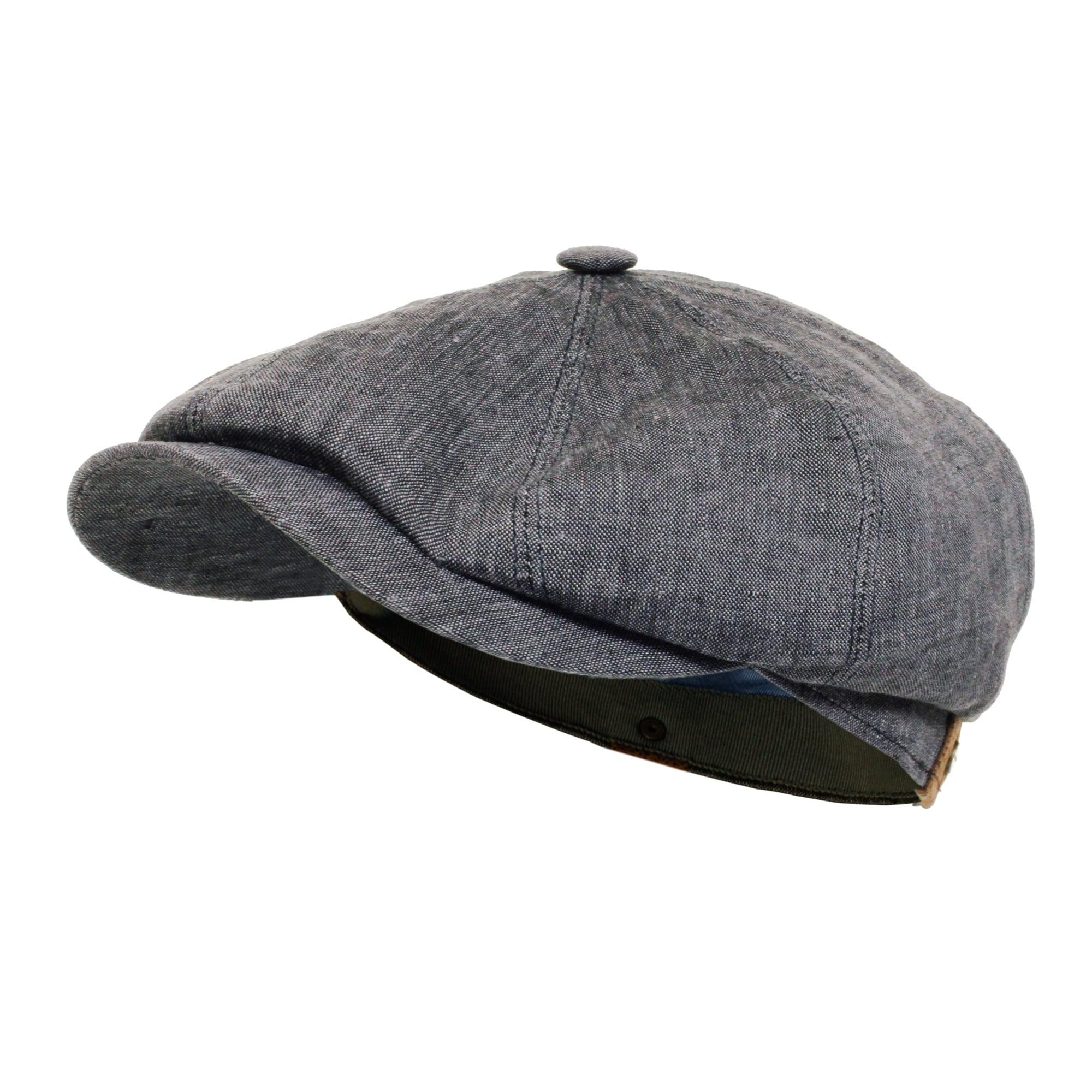 78929216414 Hatteras Linen Newsboy Cap- Navy