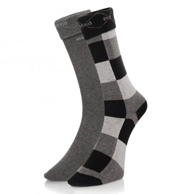 Burlington Socks Hugo Boss Black Double Pack Patterned Black/Grey Socks 50139262