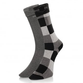 Hugo Boss Black Double Pack Patterned Black/Grey Socks 50139262