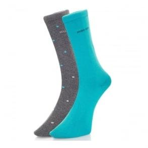 Hugo Boss Black Double pack Patterned Grey/Aqua Socks  50312862