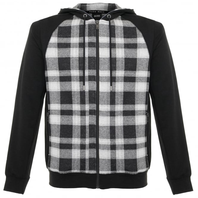 BOSS Hugo Boss Hugo Boss Checked Black Sweatshirt Jacket 50322123