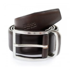 Hugo Boss Dark Brown Froppin Leather Belt 50151746 202