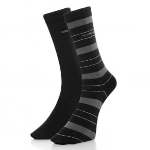 Hugo Boss Double Pack Black Stripe Socks 50319261