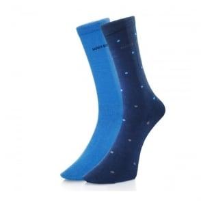 Hugo Boss Double Pack Blue Patterned Socks 503128
