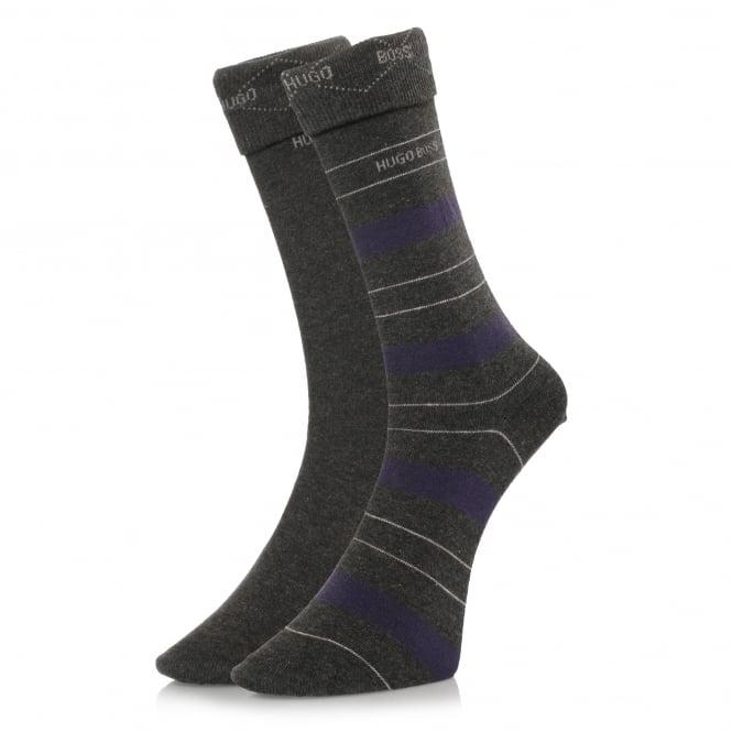 BOSS Hugo Boss Hugo Boss Double Pack Grey Stripe Socks 50319261