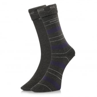Hugo Boss Double Pack Grey Stripe Socks 50319261