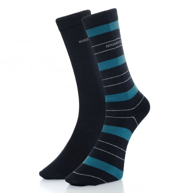 BOSS Hugo Boss Hugo Boss Double Pack Navy Stripe Socks 50319261