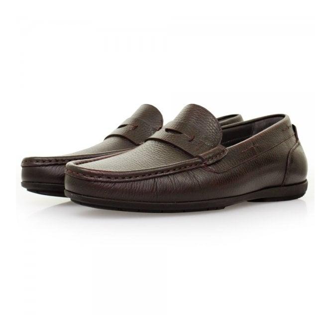 BOSS Hugo Boss Hugo Boss Flamio Dark Red Leather Loafer Shoes 50298115