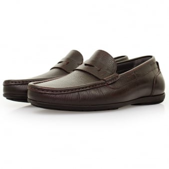 Hugo Boss Flamio Dark Red Leather Loafer Shoes 50298115