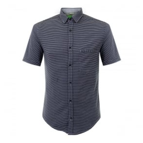 Hugo Boss Green Bascelino Striped Navy Shirt 50308453