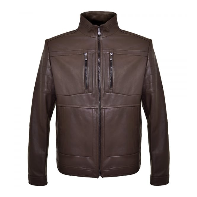 Boss Green Hugo C-Jentos Medium Brown Leather Jacket 50308948