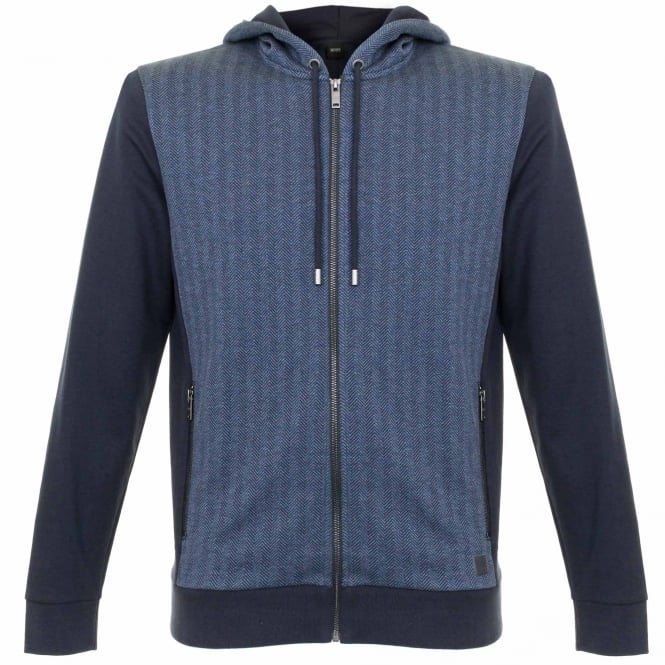 BOSS Hugo Boss Hugo Boss Jacket Hooded Dark Blue Herringbone Track top 50326842
