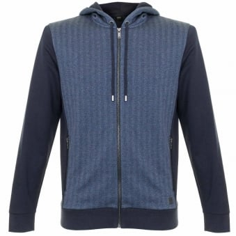 Hugo Boss Jacket Hooded Dark Blue Herringbone Track top 50326842