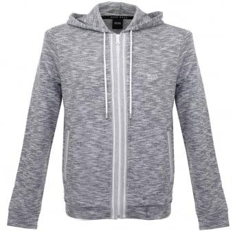Hugo Boss Lounge Zip Up Grey Marl Hoodie Sweatshirt 503148gr