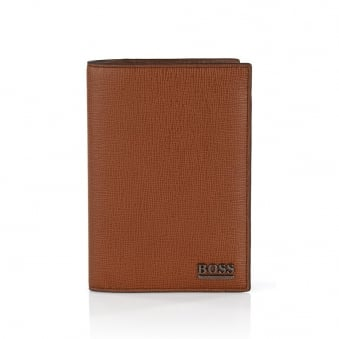 Hugo Boss Mixtel Med Brown Leather Passport Holder 50305589