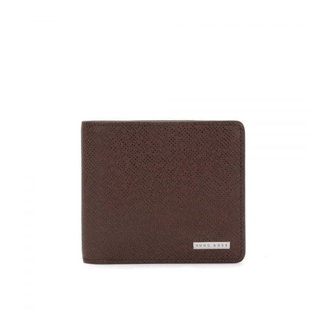 BOSS Hugo Boss Hugo Boss Signature_4 CC Coin Dark Red Brown  Leather Wallet 50311738