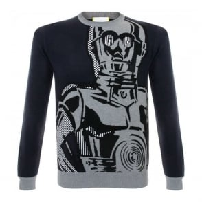 Iceberg C-3PO Knitted Navy Jumper 009-7605