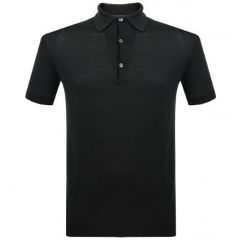 John Smedley Adrian Black Knit Polo Shirt P1