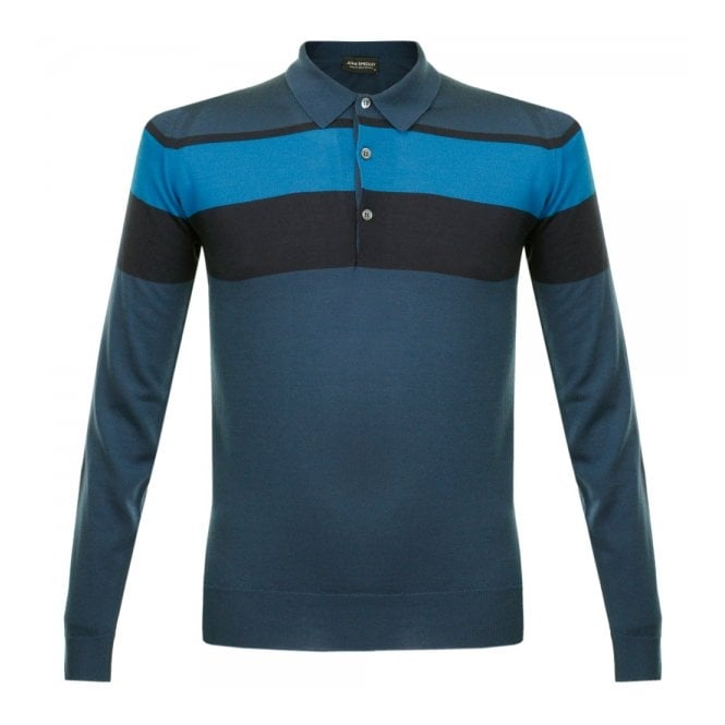 John Smedley Pelton Deep Teal Stripe Wool Polo Shirt 014