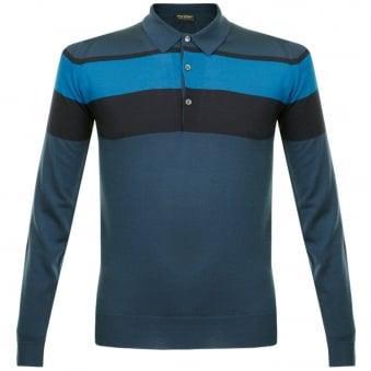 John Smedley Pelton Deep Teal Stripe Wool Polo Shirt 014