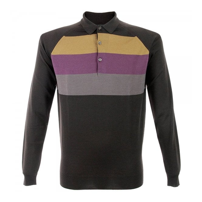 John Smedley Town Striped Wool Polo Shirt N38