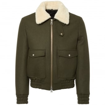 Khaki Zipped Jacket with Shearling Collar