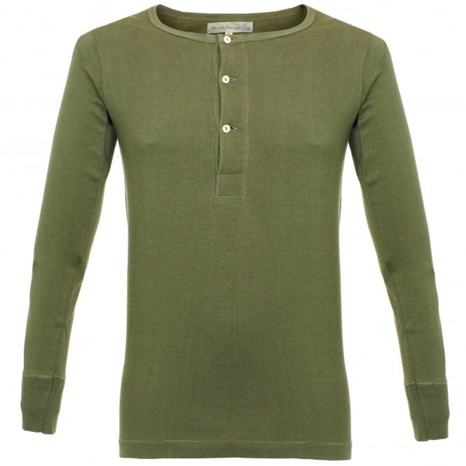 Merz b Schwanen Merz B. Schwanen Button Facing Army Green Henley T-Shirt 206