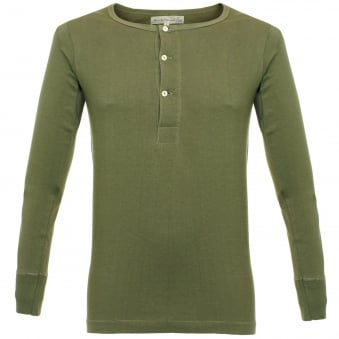 Merz B. Schwanen Button Facing Army Green Henley T-Shirt 206
