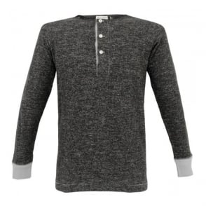 Merz B. Schwanen Button Facing Marled Black Henley MBSB