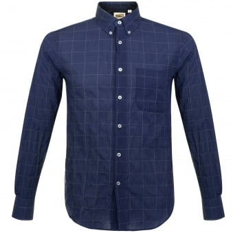 Naked and Famous Lightweight Windwpane Navy Shirt 120218524