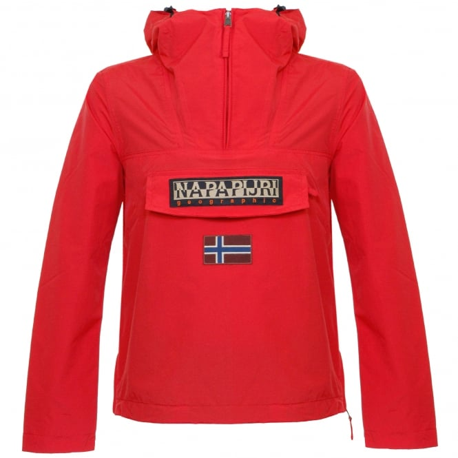 Napapijri Rainforest Summer Bright Red Cagoule Jacket N0YH0BY49