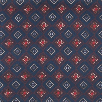 Navy Diamond Tile Silk Pocket Square