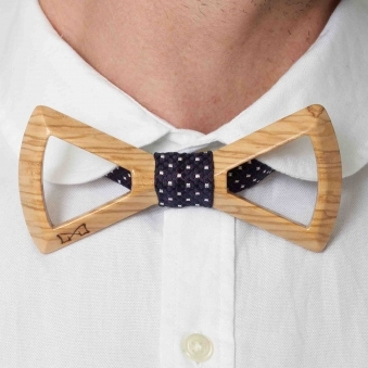 Navy & Red Silk Wooden Bow Tie