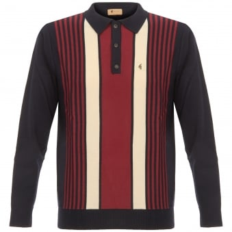 Navy Searle Multistripe Knitted Polo