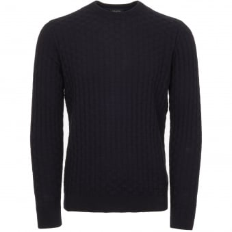 Navy Textured Cotton Wool Jumper