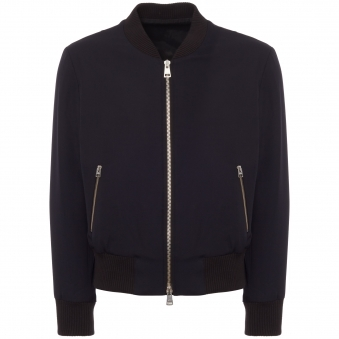 Navy Zipped Bomber Jacket