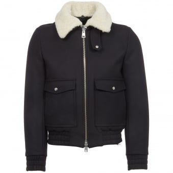 Navy Zipped Shearling Bomber Jacket