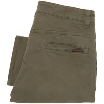 Nudie Jeans Slim Adam Bunker Olive Green Chino Pants 12011