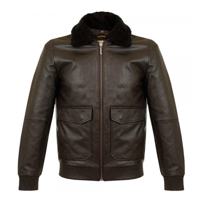 Nudie Jeans Tjalle Dark Brown Leather Pile Jacket 160305