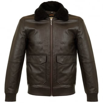 Nudie Jeans Tjalle Dark Brown Leather Pile Jacket 160305