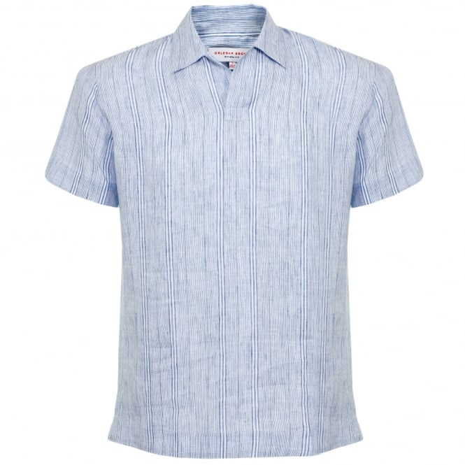 Orlebar Brown Patrick Stripe Iris Linen Shirt 264601