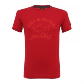 Paul and Shark Logo Red T-Shirt I14P1020SF