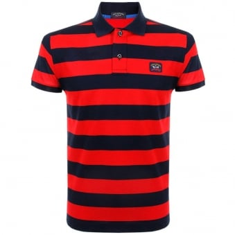 Paul and Shark Striped Navy Polo Shirt E15P0083