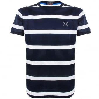 Paul and Shark Striped Navy White TShirt E15P0148SE