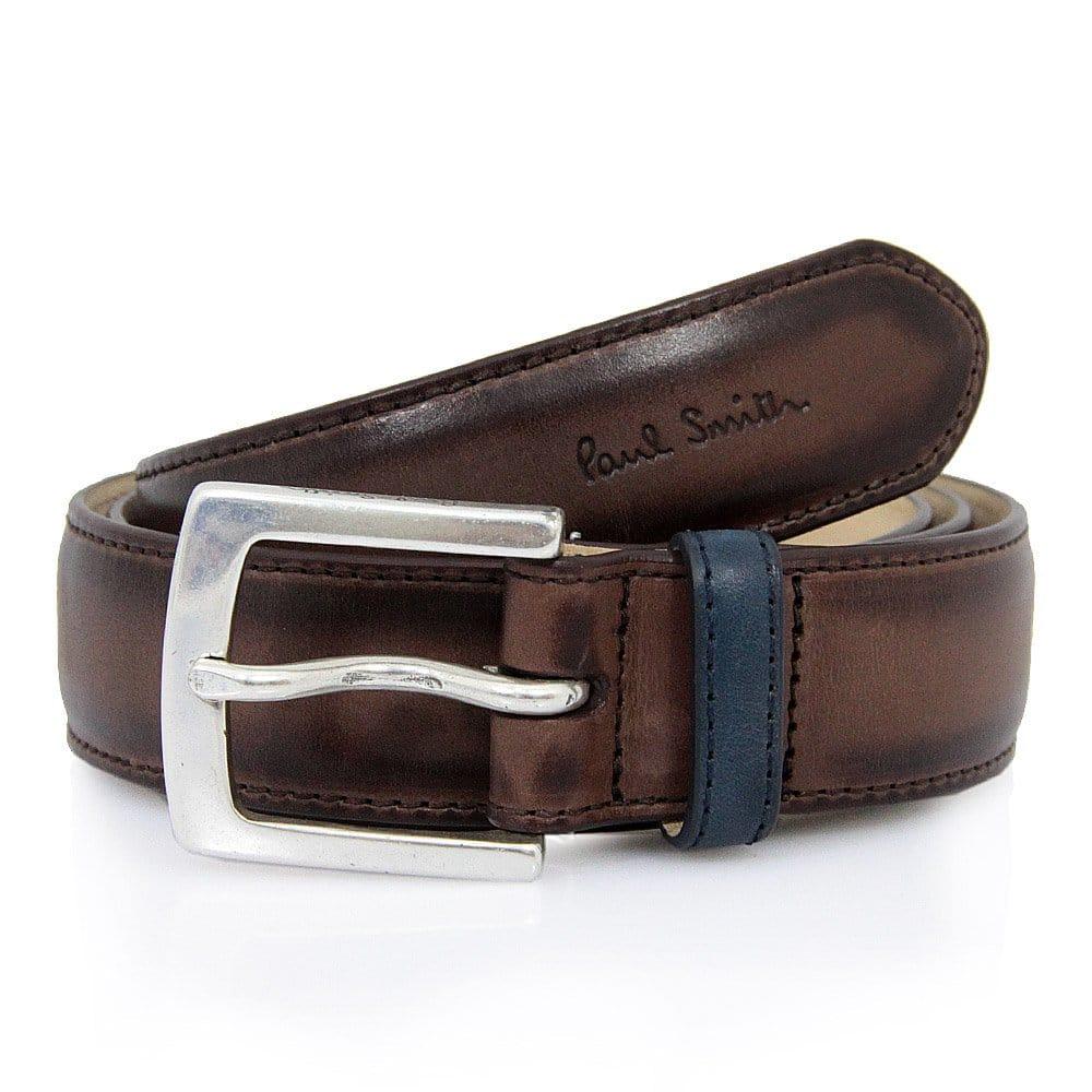 paul smith uk brown burnished leather belt akxa 068j b28