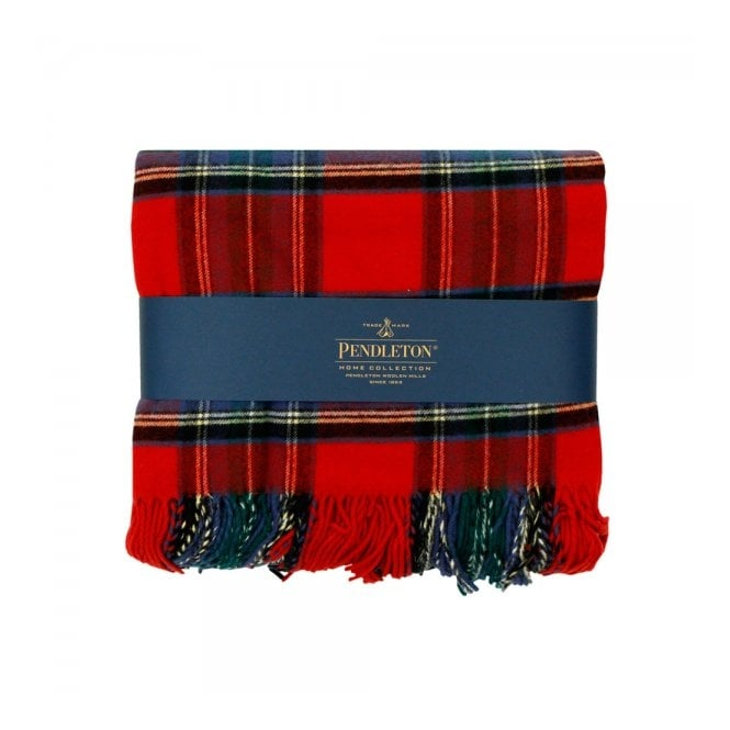 Pendleton Woolen Mills Pendleton Plaid 5th Avenue Throw Red Stweard Blanket 71014