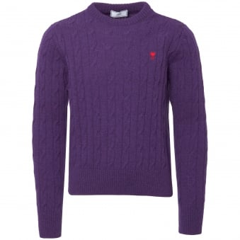 Purple Cable-Knit Sweater